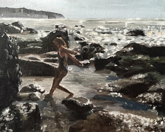 Girl Painting Beach Art Sea PRINT Girl on Rocks by the Sea Art Print - from original painting by J Coates