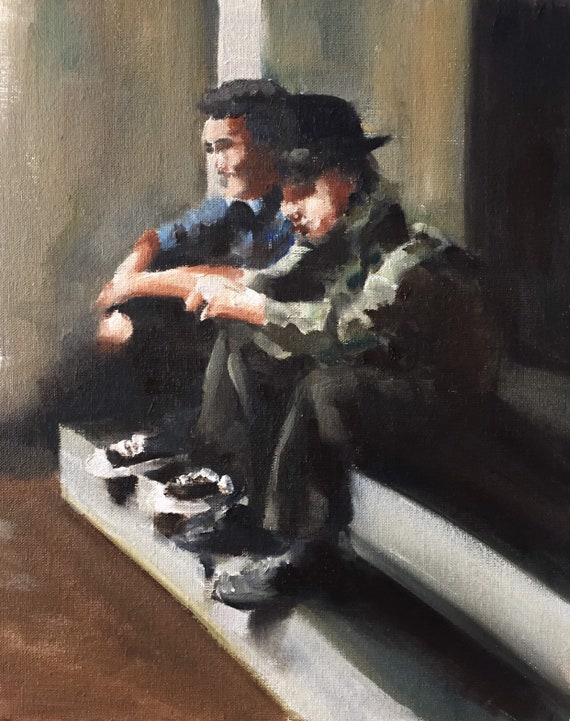 Two Men Painting Man Picture Two guys - Art Print - from original painting by J Coates Original Oil Painting or Print