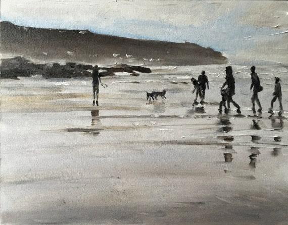 Beach Painting Beach Art Beach PRINT Beach Scene Cornwall Art Print - from original painting by J Coates Original Oil Painting or Print