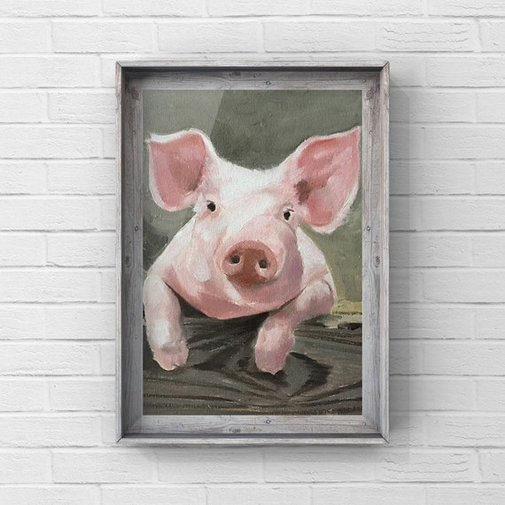 Pig Painting Pig Art Cow PRINT - Pig Oil Painting From Original by James Coates