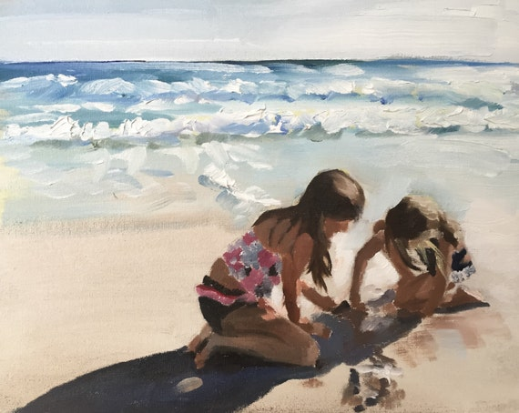 Children on Beach Painting Beach Art PRINT Girls on Beach Art Beach Fun - Art Print  - from original painting by J Coates