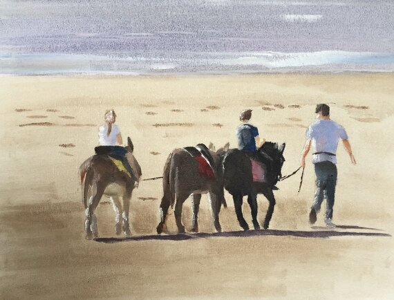 Donkey Painting Donkeys on Beach Picture Beach Art PRINT Donkey Ride on Beach  - Art Print - from original painting by J Coates