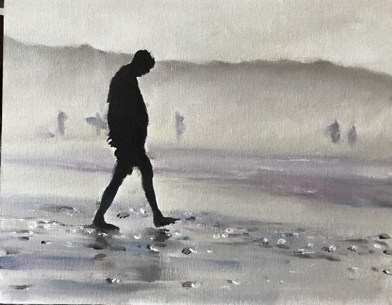 Man alone on beach painting - Man PRINT Man Walking - Art Print  - from original painting by J Coates