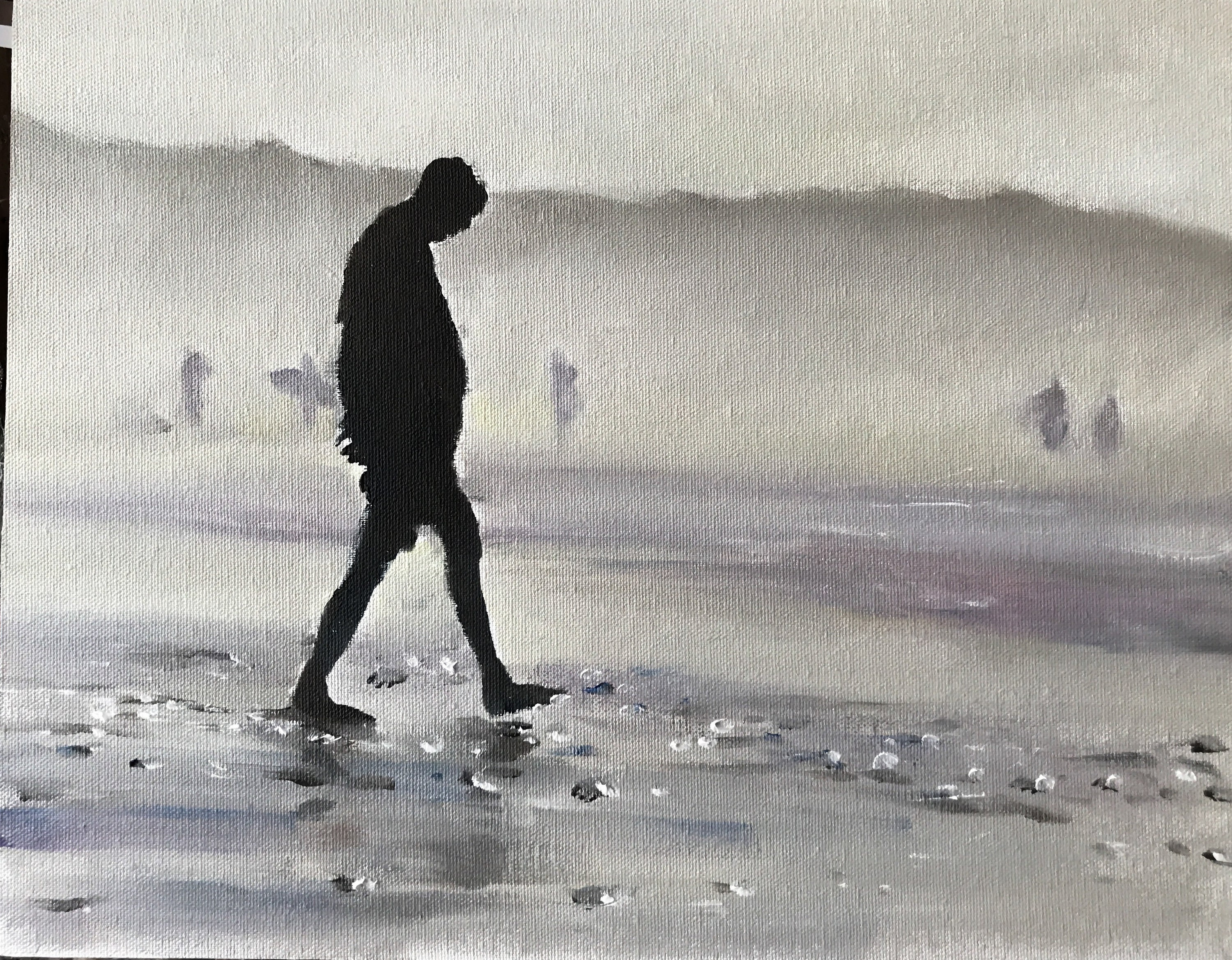 Image result for walking alone on the beach painting