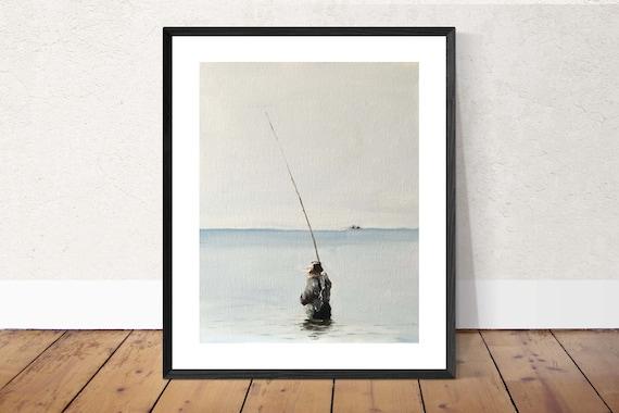 Fishing Art Fishing Painting Fishing PRINT Man Fishing - Art Print - from original painting by J Coates Original Oil Painting or Print