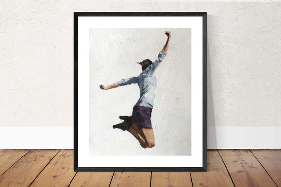 Leaping Jumping Woman Girl Painting Art PRINT Hurrah - Leaping Woman Art Print  - from original painting by J Coates