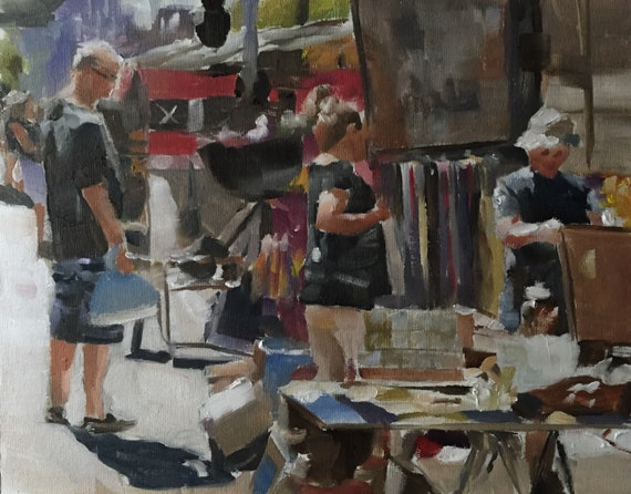 Street Market Scene Flea Market Art PRINT - Art Print- from original painting by J Coates