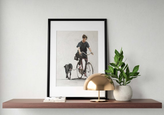 Dog Painting Dog Art Dog PRINT Man on Bicycle with Dog - Art Print - from original painting by J Coates