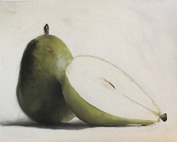 Pear Painting Pear Art Pear PRINT still life painting fruit - from original painting by J Coates