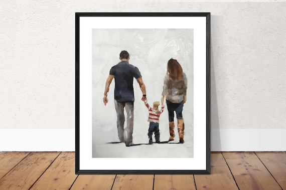 Parents Painting Mother Father Art PRINT Parents Out Walking With Toddler - Art Print - from original painting by J Coates