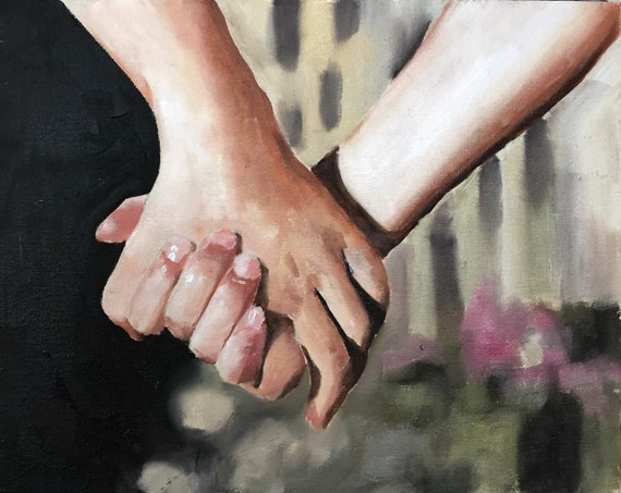Holding Hands Painting Hands Art Hands PRINT  Love Painting - Art Print - from original painting by J Coates