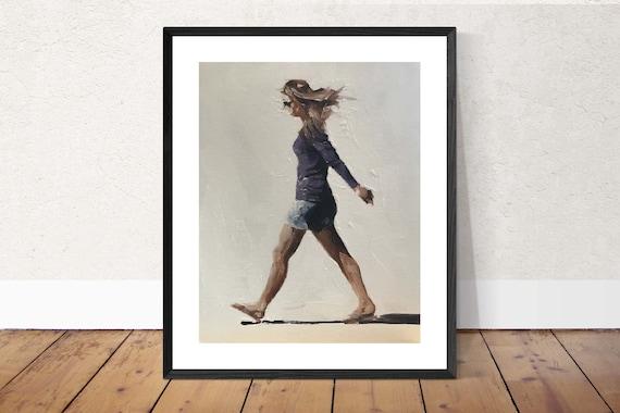 Woman Walking Painting Woman Walking Art PRINT  - Art Print  - from original painting by J Coates