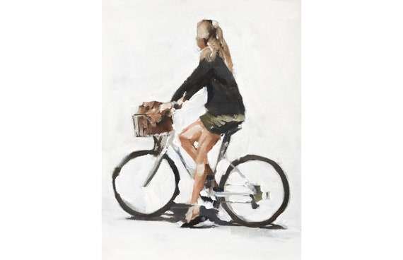 cycling woman painting cycling girl art PRINT Bicycle Woman - Art Print - from original painting by J Coates