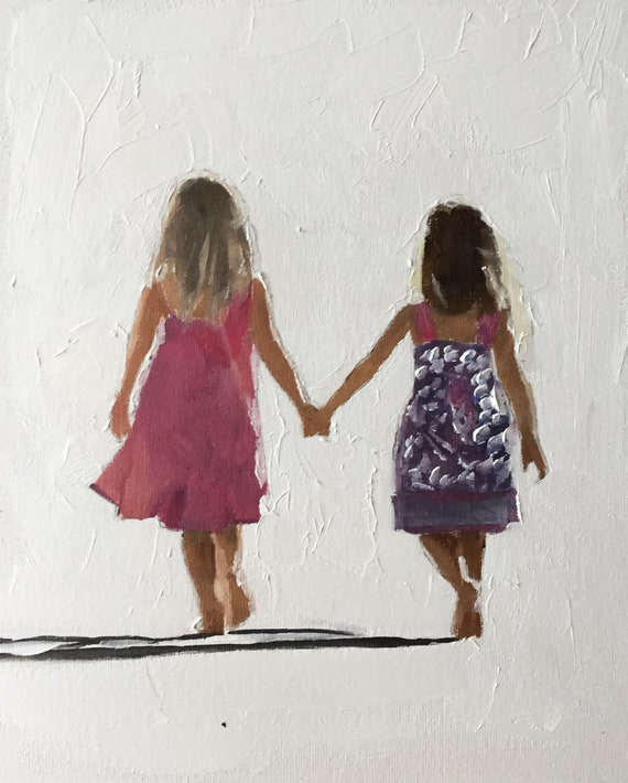 Sisters Painting Girls Best Friends Sister Art PRINT Sisters - Art Print - from original painting by J Coates