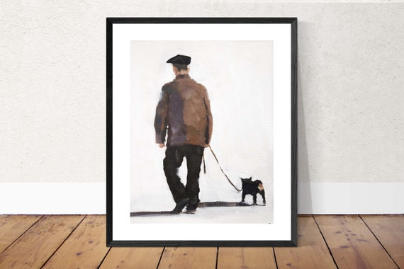 Man Walking Dog Painting Art PRINT Man Walking Dog - Art Print - from original painting by J Coates Original Oil Painting or Print