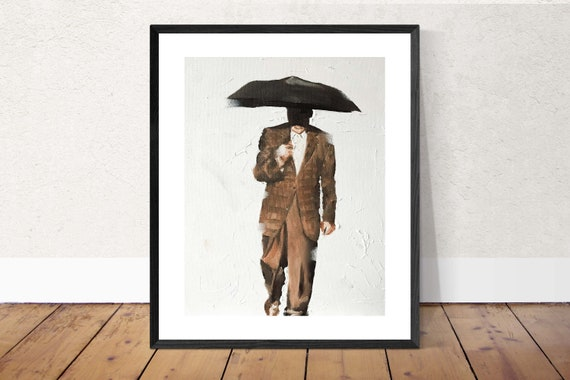 Umbrella Painting Umbrella Art PRINT Man Walking in Rain with Umbrella - Art Print - from original painting by J Coates