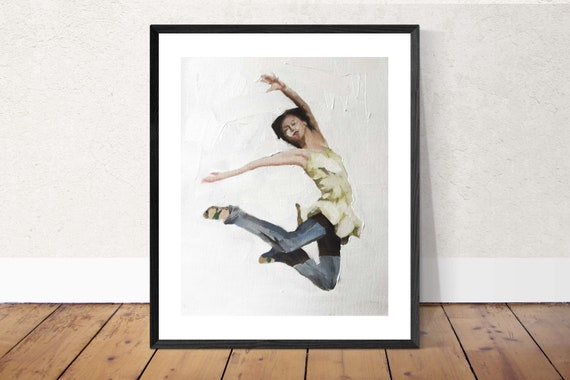 Jumping Girl Painting Art PRINT Hurrah - Leaping Woman Art Print - from original painting by J Coates Original Oil Painting or Print
