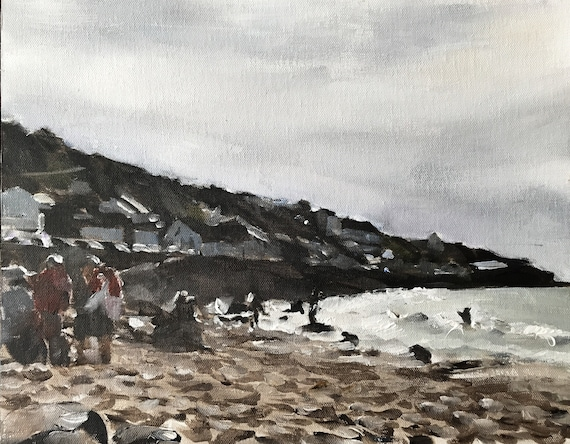 Beach Art Beach Painting PRINT playing on the beach - Art Print - from original painting by J Coates