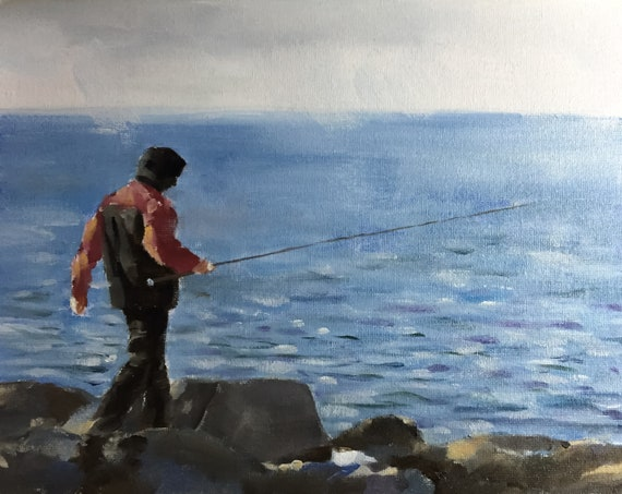 Man alone fishing on beach painting - Man PRINT Man Walking - Art Print  - from original painting by J Coates