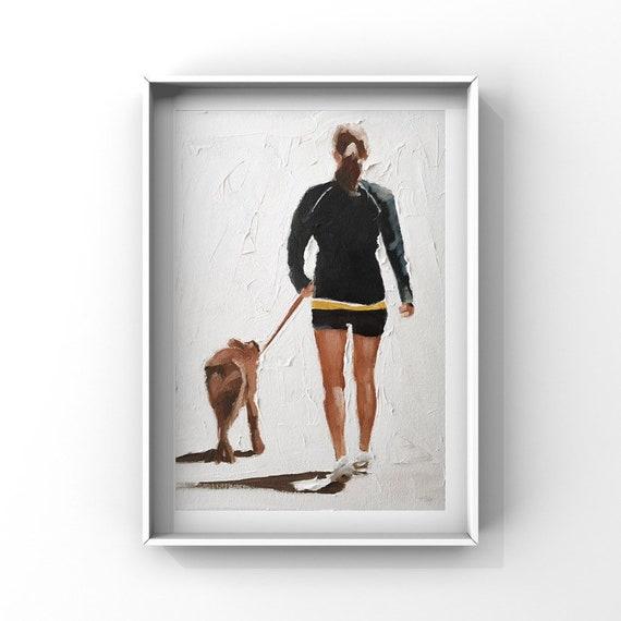 Dog Walking Painting Dog Walk Art PRINT Woman Walking Dog - Art Print  - from original painting by J Coates