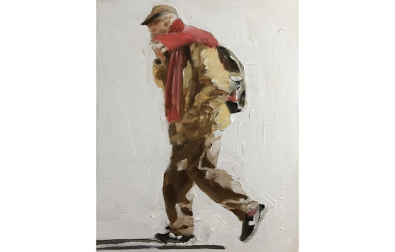 Old Man Painting Old Man Art Old Man PRINT Old Man Walking - Art Print  - winter print by J Coates