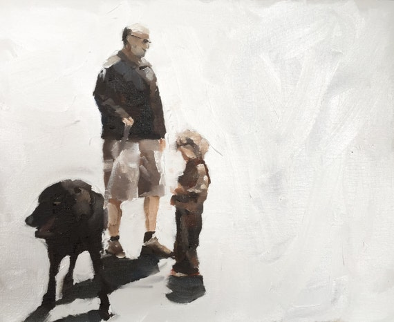 Dog Walking Painting Dog Walk Picture Art PRINT Walking the Dog - Art Print  - from original painting by J Coates