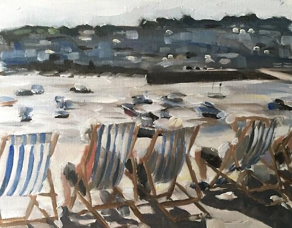 Beach Art St Ives Cornwall Art PRINT Beach Cornwall - Art Print  - from original painting by J Coates