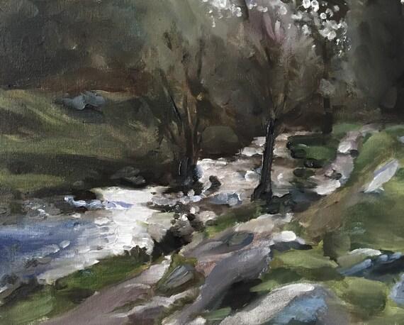 River Painting River Art PRINT Peak District Art Painting Padley Gorge Peak District - Art Print  - from original painting by J Coates