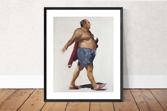 Big Man Painting Old Man Art Large Man PRINT Old Man Walking - Art Print  - from original painting by J Coates