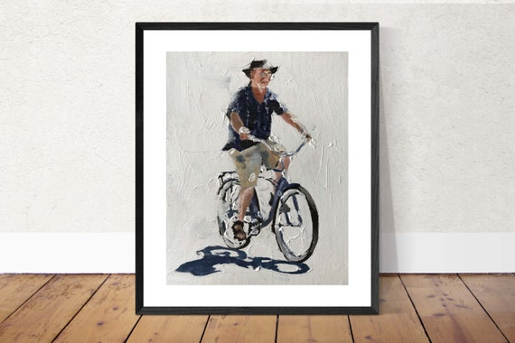 Cycling Painting Cycling Art Cycling PRINT Man on Bicycle - Art Print  - from original painting by J Coates