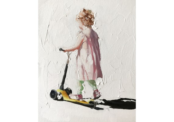 Girl painting Girl Art PRINT Girl on Scooter - Art Print - from original painting by J Coates
