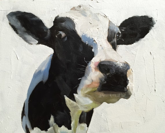 Cow Painting, Cow Art, Cow PRINT, - Cow Oil Painting, Holstein Cow, Farmhouse Art, Farm Animal Prints, Nursery Art, Cow Wall Art, Cow Gift