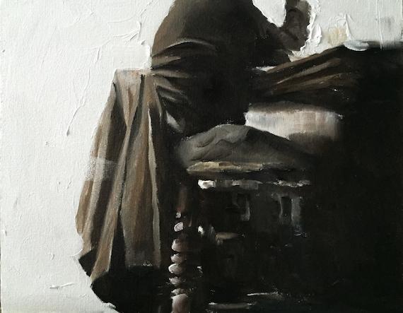 Man Painting PRINT Man at Bar - Art Print - from original painting by J Coates