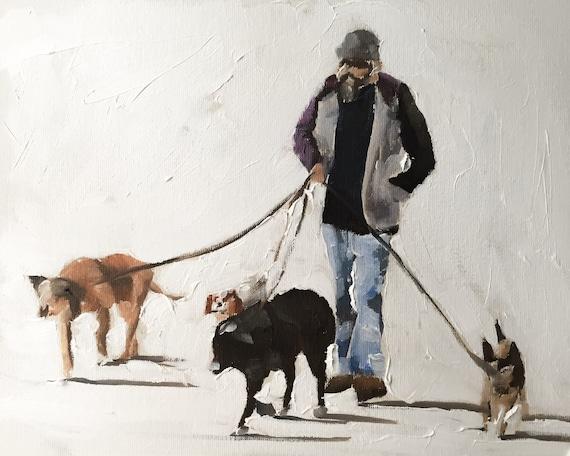 Dog Walker Painting Dog Art PRINT Dog Walker - Art Print - from original painting by J Coates