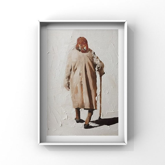 Old Woman Painting Old Lady PRINT Art Old Lady  - Art Print  - Original Oil Painting or Print Original Oil Painting or Print