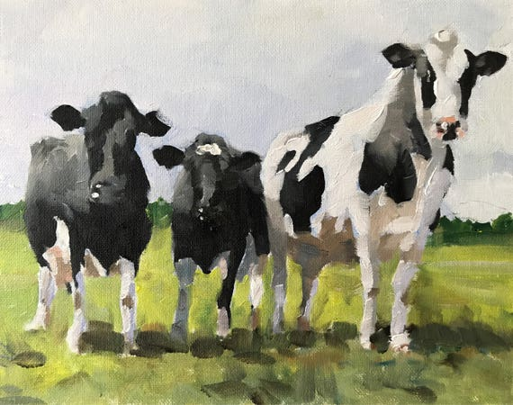 Cow Painting, Cow Art, Cow PRINT - Cow Oil Painting, Holstein Cow, Black and White Cow Painting, Farm Animal art, Farmhouse Art