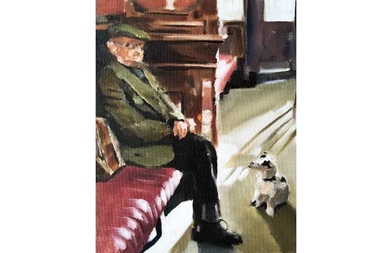 Man in Pub Painting Pub Painting Art PRINT Old Man in Pub  - Art Print - from original painting by J Coates