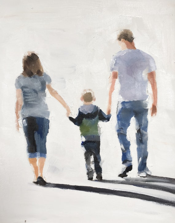 Family Walk Painting Family Painting Art PRINT Family Outing - Art Print - from original painting by J Coates Original Oil Painting or Print