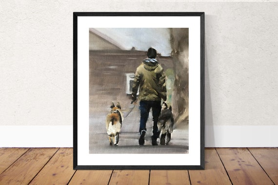 Man and Dogs Painting man Dog Art PRINT Man with Dog - Art Print - from original painting by J Coates