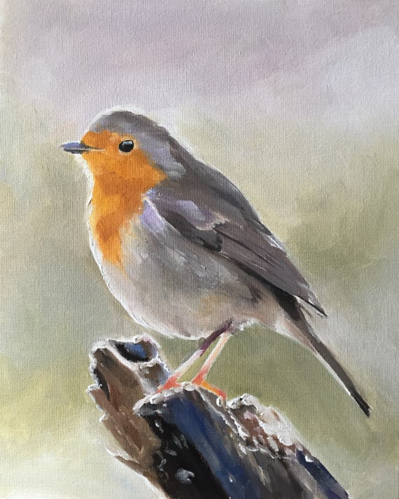 Robin Bird Painting Art PRINT Robin Picture  - Art Print  - from original painting by J Coates
