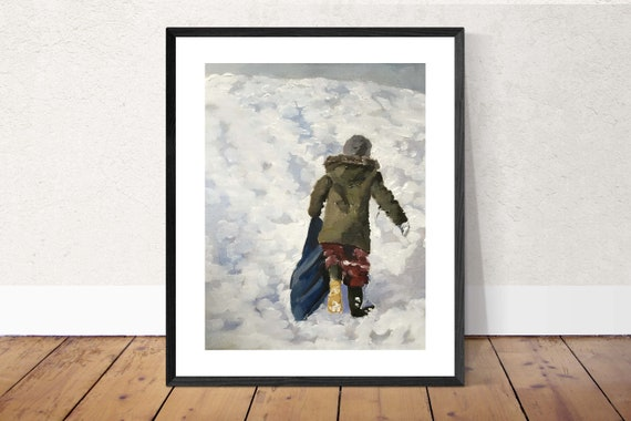 Snow Painting Snow Art Snow Children PRINT Sledging in the Snow - Art Print - from original painting by J Coates