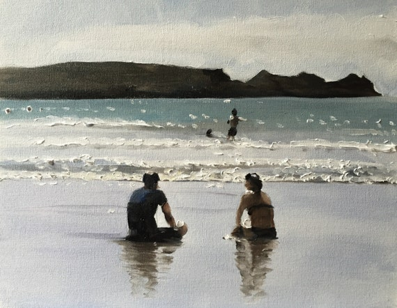 Couple Sea Beach Painting Couple Art Sea Couple PRINT Couple by the Sea Art Print - from original painting by J Coates