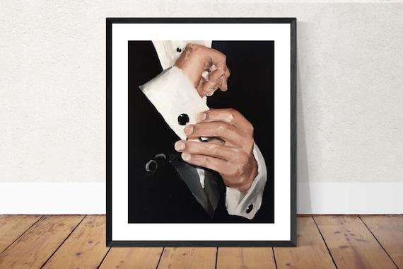 Tuxedo painting Art PRINT James Bond Tuxedo Man Art Print - from original painting by J Coates