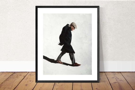 Old Man Painting Old Man Art Old Man PRINT Old Man Walking - Art Print  - from original painting by J Coates Original Oil Painting or Print