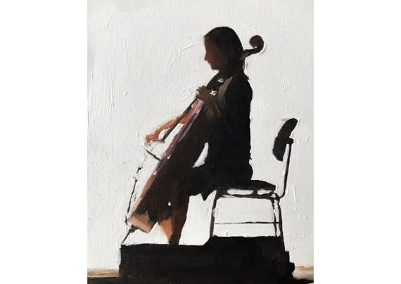 Cellist Woman Playing Cello Player Art PRINT music painting - Art Print - from original painting by J Coates