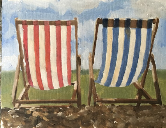 Beach Painting Beach Art PRINT Deck Chairs Art Print - from original painting by J Coates