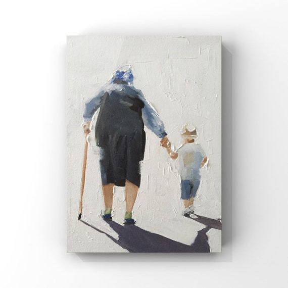 Grandmother and Grandaughter Painting Mother Art Mother PRINT - Mother and Daughter Walking - Based open original oil painting by J Coates