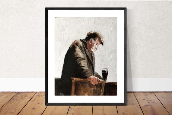 Old Man Painting Old Man Art Old Man PRINT Old Man Drinking in Bar Art Print - from original painting by J Coates