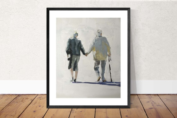 Old Couple Painting Old Couple Art PRINT Lovers Art Print - from original painting by J Coates