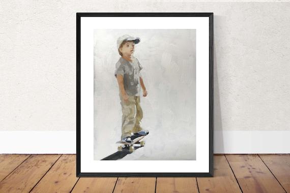 Skateboarder Painting Skateboard Art PRINT Skateboarding Boy  - Art Print  - from original painting by J Coates